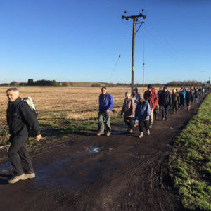 Guide John Eccles leads the way across Rixton Moss on a 3-4 mile guided walk - 7th Jan 2018.