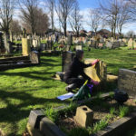 Volunteer cleans headstone as part of the Gravetending Scheme service.