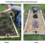 Volunteer tidies unvisited grave - July 2017.
