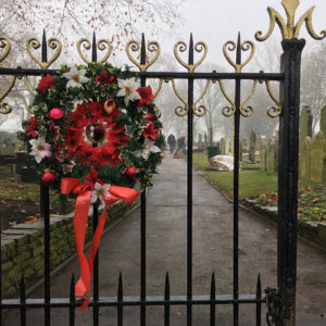 Wreath welcomes visitors during the Christmas period - December 2017.