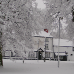 A wintry scene of the Black Swan, Hollins Green - January 2010
