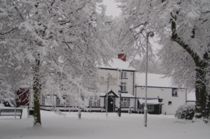 A wintry scene of the Black Swan, Hollins Green January 2010.