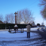 Winter scene of the Cenotaph in Hollins Green - January 2013