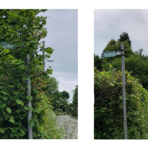 Before and after images taken on the sign cleaning action day held 1st June 2019.